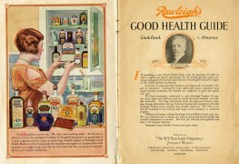 illustration of woman surrounded by Rawleigh's products. title page with image of W. T. Rawleigh